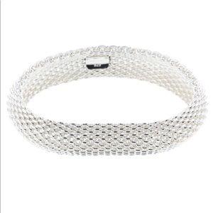 Tiffany & Co. Somerset Silver Mesh Bangle NEW